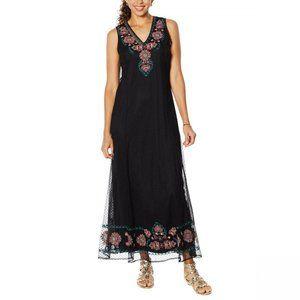 NWT Curations Mesh Maxi Dress With Slip XL Black